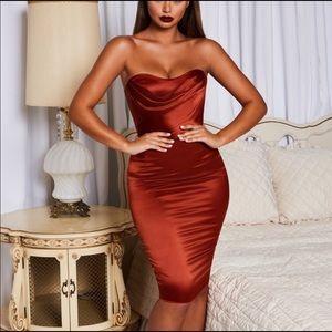 Oh Polly Midi Copper Dress, Size UK 4 US 0
